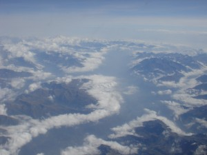 flying over the alps into Italy
