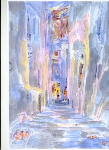 a painting of Barga by Richard Demarco
