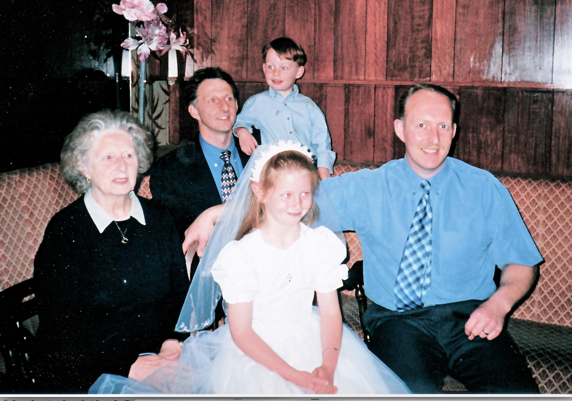 David at the front with his mum Irene, his brother Alan and Alan's two children Sarah and Christopher