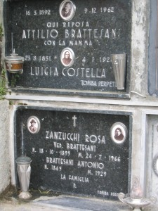 the graves of Anthony and Attilo Brattisani in Rovinaglia Cemetery