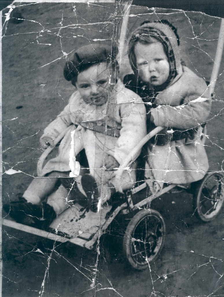 George and Helen in the famous twin buggy. Happy Days indeed.