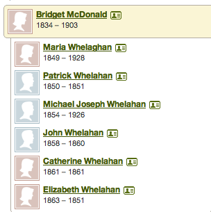 six known children of Patrick Whelahan and Bridged McDonald