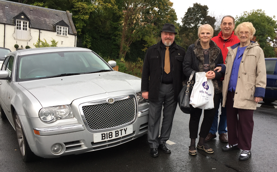 Ian with his Mum, Alison, Denis and his wonderful Bentley