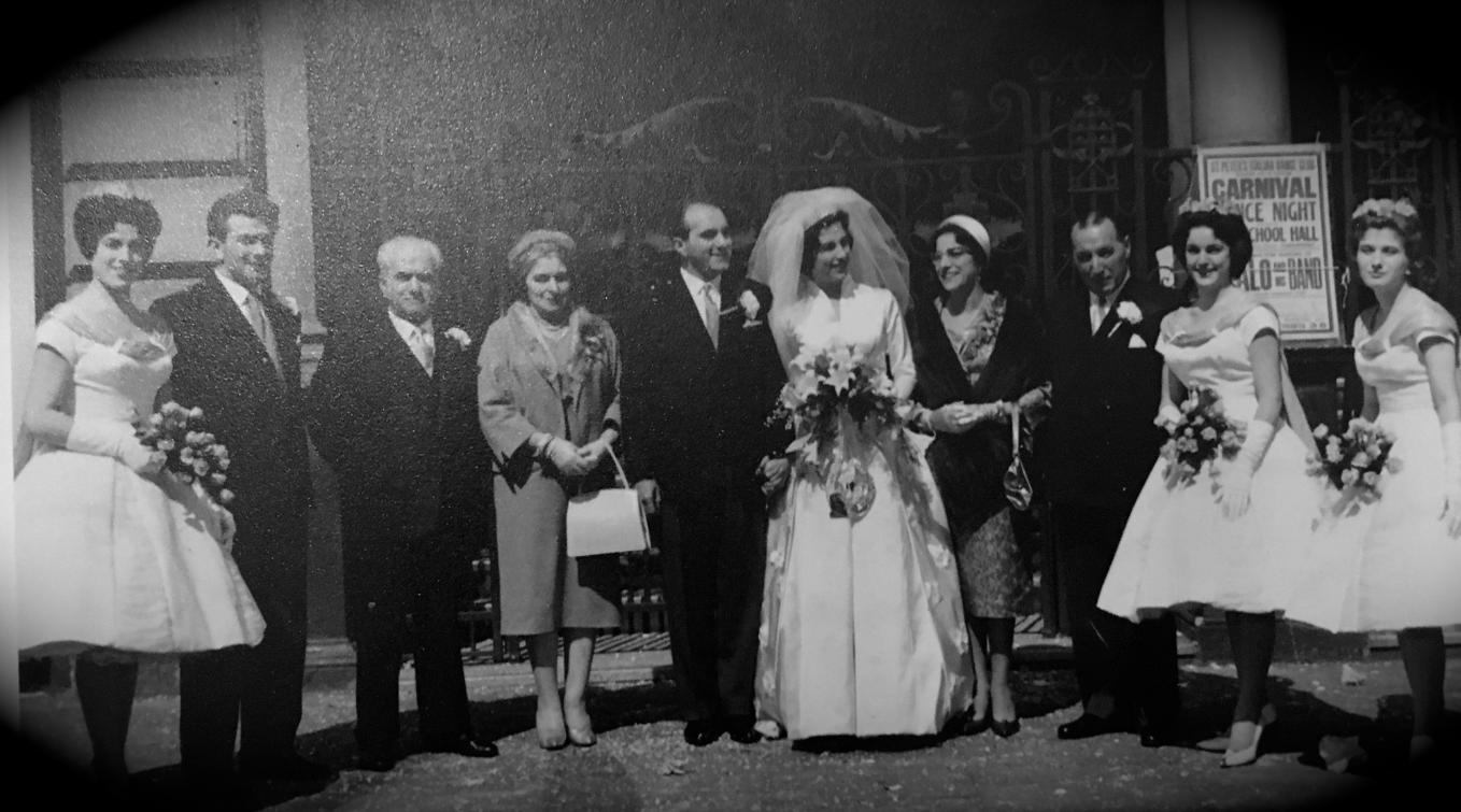 In the centre the bride and groom Guido Franchi and Alba Zazzi. [Guido is Lia's Uncle].  Left, next to him are Giovanna Brattesani and Luigi Franchi.  Next to Luigi is Lia's father and next to him is the bride's sister.  Next to the bride are her parents, an unknown bridesmaid and on the far right Lia's aunt Maristella Franchi, daughter of Giovanna and Luigi